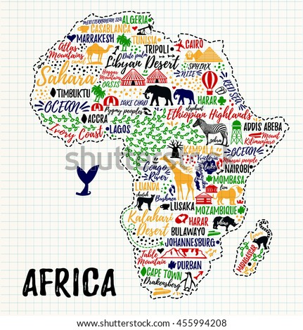 typography poster africa map