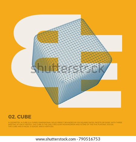 Typography poster art with vector three-dimensional polygonal cube shape. Abstract geometry illustration artwork, perfect for web design, template form, banner, presentation, brochure, cover.