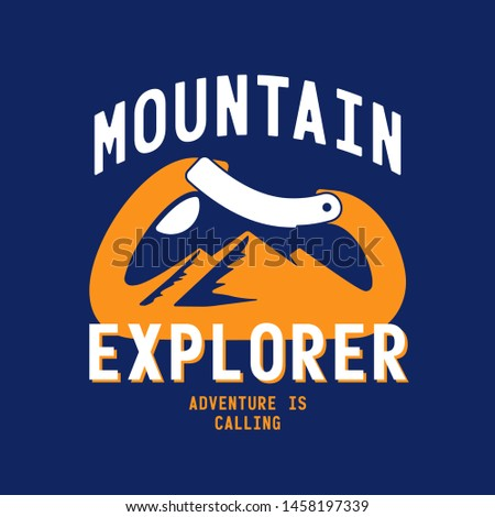 typography slogan mountain explorer with carabiner and alpine mountain silhouette inside background illustration for T-shirt and apparels graphic vector Print.