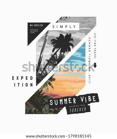 typography slogan on sunset palm tree background  Photo stock ©