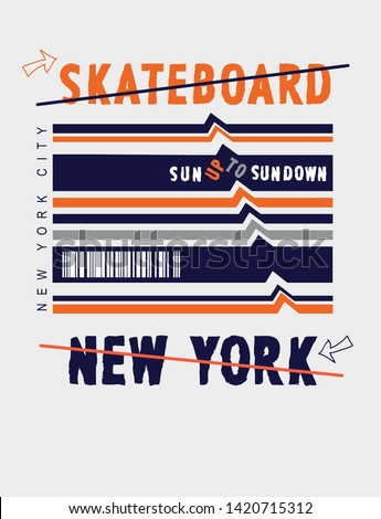 typography slogan skateboard vector illustrations. With illustration cool slogans. Vector graphic design for t shirt and other uses. – Vector
