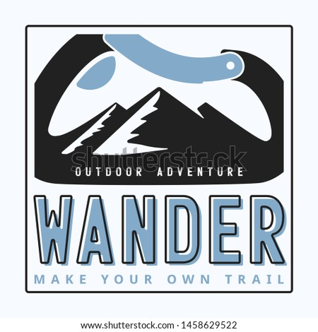 typography slogan wander outdoor adventure with carabiner and alpine mountain silhouette inside background illustration for T-shirt and apparels graphic vector Print.