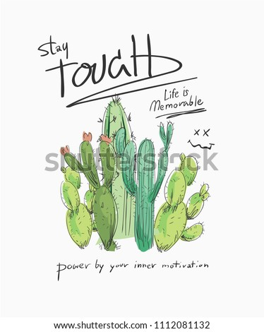 typography slogan with a bunch of cactus illustration Photo stock ©