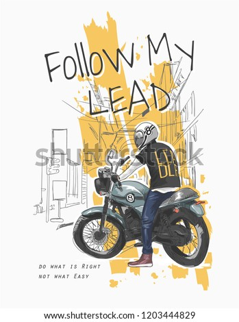 typography slogan with a man on a bike illustration