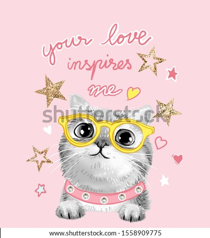 typography slogan with b/w cute cat in glasses and glitter stars illustration Foto stock ©