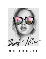 typography slogan with b/w girl in sunglasses illustration
