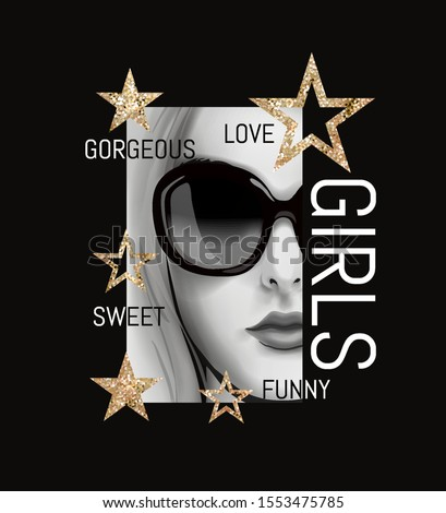 typography slogan with b/w girl in sunglasses illustration and gold glitters