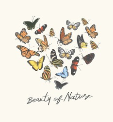 typography slogan with butterfly in heart shape illustration