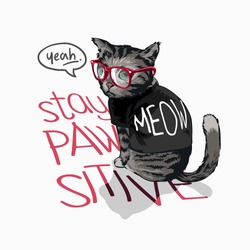 typography slogan with cartoon cat in black t shirt illustration