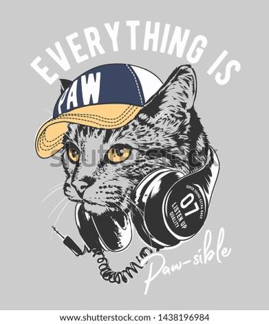 typography slogan with cat on headphone illustration
