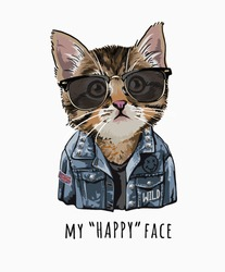 typography slogan with cute cat in sunglasses and denim jacket illustration