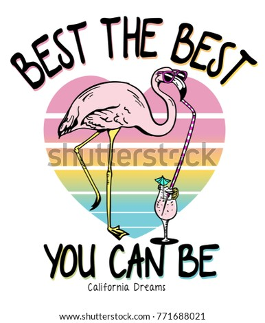 Shutterstock Typography slogan with cute flamingo vector for t shirt printing and embroidery, Graphic tee and printed tee