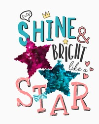 typography slogan with cute icons and glitter sequins illustratioin
