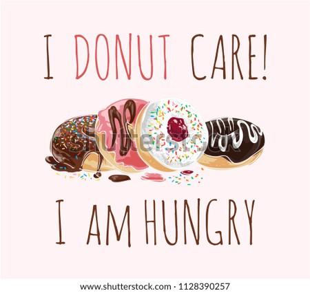 typography slogan with donuts illustation