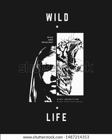 typography slogan with face in shadow and tiger illustration Photo stock ©