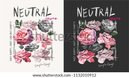 typography slogan with flower illustration