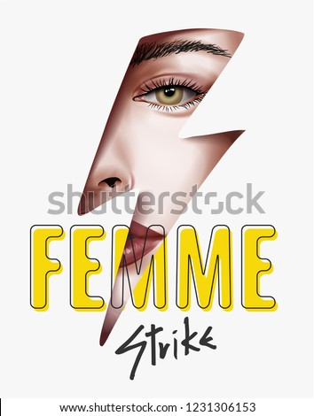 typography slogan with girl face in lightning strike illustration