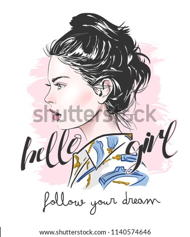 typography slogan with girl