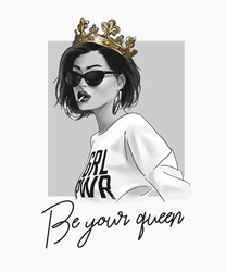 typography slogan with girl in clown and sunglasses illustration