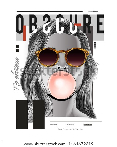 typography slogan with girl in sunglasses illustration