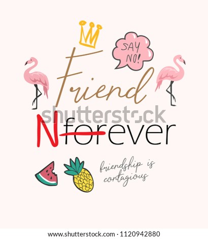 typography slogan with girly icons