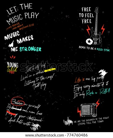 Typography slogan with guitar and speaker vector for t shirt printing and embroidery, Graphic tee and printed tee