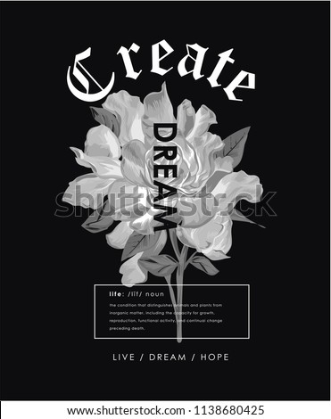 typography slogan with inverted color flower illustration
