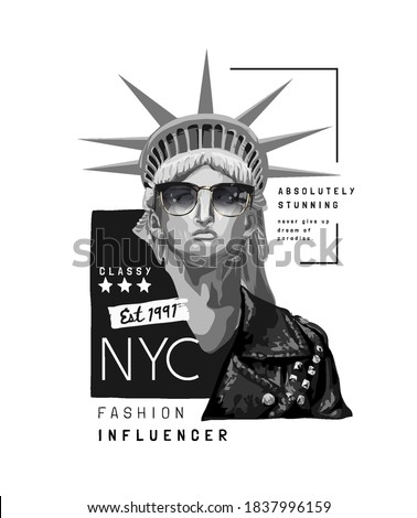 typography slogan with liberty statue in sunglasses and leather jacket illustration Foto stock ©