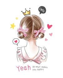 typography slogan with little blonde hair girl and cute icons illustration