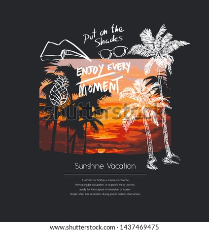 typography slogan with palm tree illustration on sunset blackground