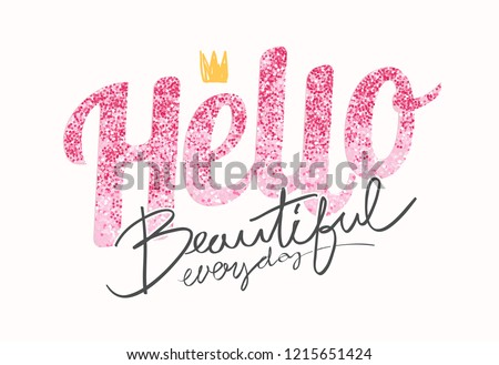 typography slogan with pink glitter for fashion t shirt
