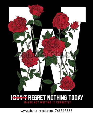 typography slogan with roses