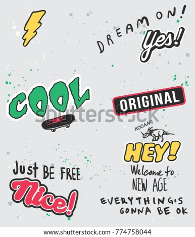 Typography slogan with thunder and skateboard vector for t shirt printing and embroidery, Graphic tee and printed tee