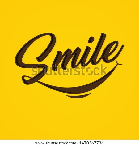 Typography Smile vector on the yellow background. Letter vector Smile for element design. Vector illustration EPS.8 EPS.10