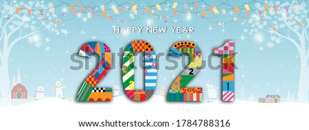 Typography text Happy new year 2021 font in geometric style on winter landscape background with polar bear playing ice skats,Cute design for Greeting card lettering. Vector 2021 flyers, poster, banner