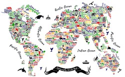 Typography World Map. Travel  Poster with cities and sightseeing attractions. Inspirational Vector Illustration.