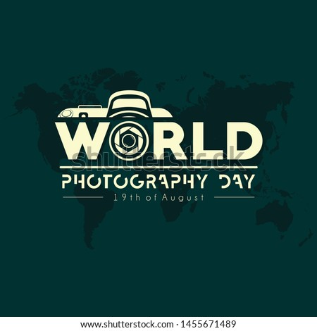 TypographyLogo for World Photography Day with World Map Background