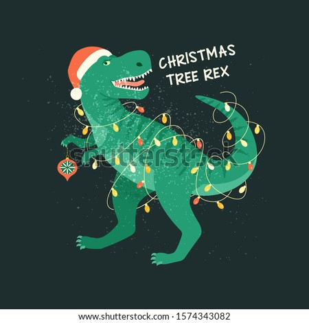 Tyrannosaurus Christmas Tree Rex Card. Dinosaur in Santa hat decorates Christmas tree garland lights. Vector illustration of funny character in cartoon flat style.