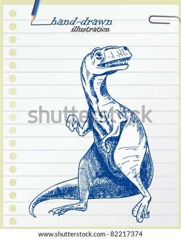 Tyrannosaurus hand-drawn illustration