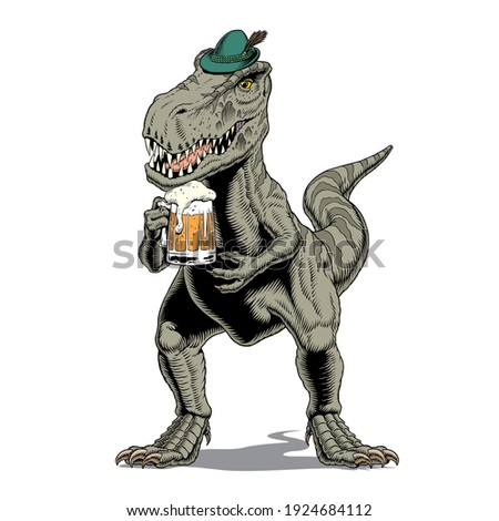Tyrannosaurus rex dinosaur or t rex wearing Bavarian or Tyrolean hat, with beer mug, isolated on white. Comic style vector illustration. Zdjęcia stock ©