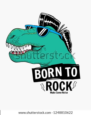 Tyrannosaurus Rex with sunglasses and cool hairs vector illustrations , For t-shirt prints and other uses.