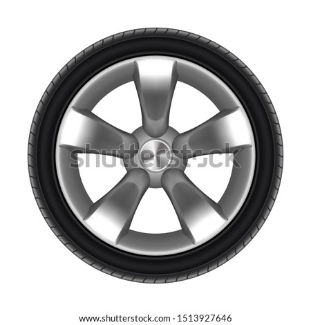 Tyre of car isolated with star disk. Black rubber protector for auto. Tire for lorry or tyre for bus or truck. Motorcycle sport wheel or moto circle for racing. Vehicle and garage, balancing, driving