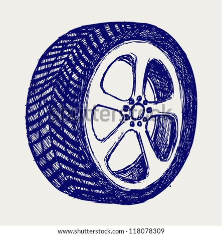 Tyre wheels. Doodle style
