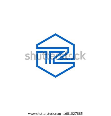 TZ monogram logo inside hexagon shape. T & Z initials. Stock fotó ©