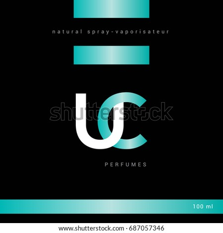 U C joint logo letter design with packaging template Foto stock ©