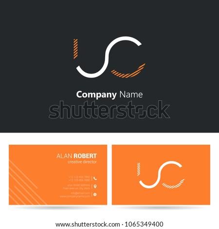 U & C stroke letter logo design with business card template Foto stock ©