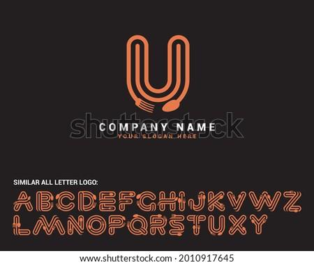 U Food Letter logo, U spoon letter logo,food letter logo set, food alphabet Stok fotoğraf ©