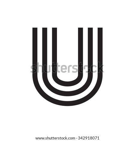 U Letter Formed By Parallel Lines Vector Design Template Elements
