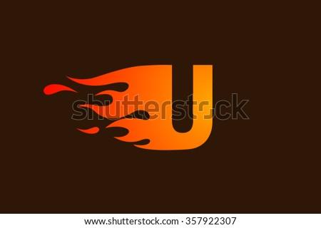 u letter logo  fire flames logo