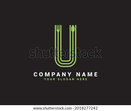 U Letter logo, U Food Letter logo, U  spoon letter logo Stok fotoğraf ©